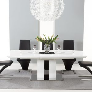 Mark Harris Rossini White High Gloss Extending Dining Set - - 6 Black Hereford Chairs