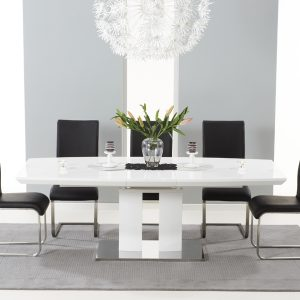 Mark Harris Rossini White High Gloss Extending Dining Set - - 6 Black Malibu Chairs