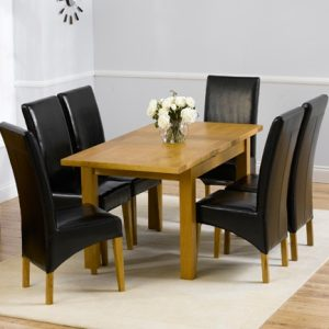 Mark Harris Rustique Oak 120cm Extending Dining Set - 6 Roma Black Chair