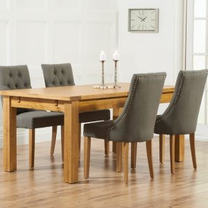 Mark Harris Rustique Oak 180cm Extending Dining Set - 4 Pailin Grey Chair
