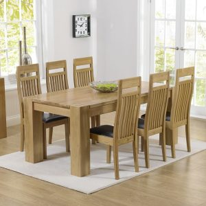 Mark Harris Tampa Oak 180cm Dining Set - 6 Monte Carlo Brown Dining Chairs
