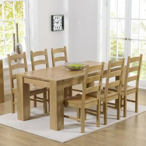 Mark Harris Tampa Oak 180cm Dining Set - 6 Valencia Timber Seat Chairs