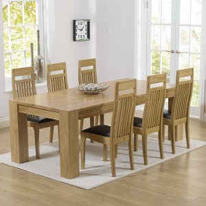 Mark Harris Tampa Oak 220cm Dining Set - 6 Monte Carlo Brown Dining Chairs