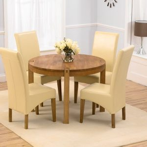 Mark Harris Verona Oak 110cm Round Dining Set - 4 Roma Cream Chairs