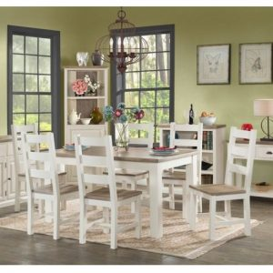 Alaya Small Dining Table In Stone White With Four Dining Chairs