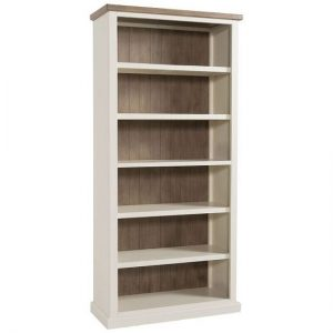 Alaya Wooden Tall Bookcase In Stone White Finish