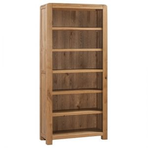Capre Wooden Large Bookcase In Rustic Oak Finish