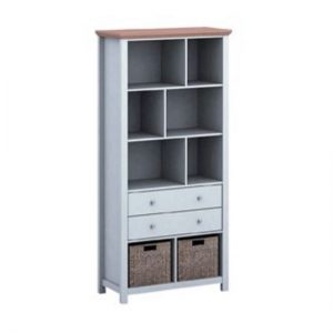 Cornet Wooden Bookcase In Grey And Oak Finish