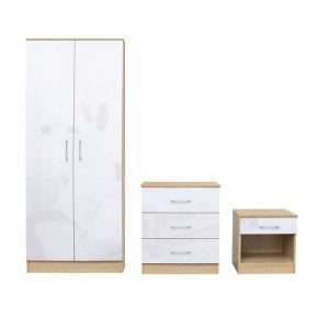 Dakoto Bedroom Set In White Gloss And Matt Oak Finish