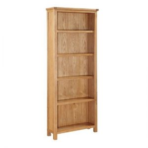 Hart Wooden Tall Bookcase In Oak Finish