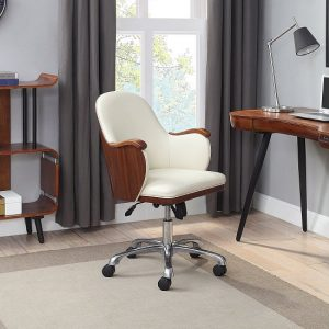 Terrence Faux Leather Office Chair In Cream And Walnut Finish