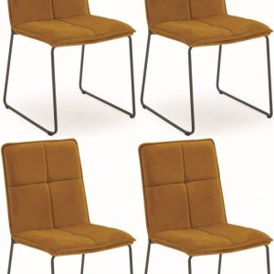 Vida Living Soren Dining Chair (Set of 4) - Mustard Velvet
