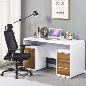 Florentine Computer Desk In White Gloss With Dark Oak Drawers