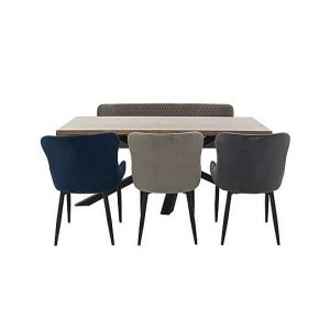 Sapporo Table, 3 Fabric Chairs and Bench Dining Set - By Furniture Village