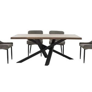 Sapporo Table and 4 Fabric Chairs Dining Set - Silver - By Furniture Village