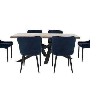 Sapporo Table and 6 Fabric Chairs Dining Set - Blue - By Furniture Village