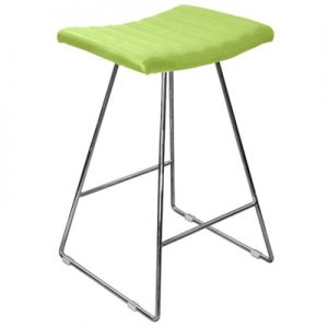 Bob PU Leather Counter Stool, Chrome / Lime