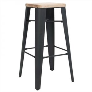 Cognac Commercial Grade Steel Counter Stool with Timber Seat, Black