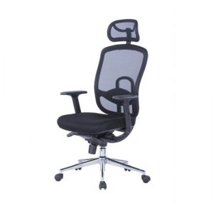 Tate Mesh Office Chair In Black With Fabric Seat And Headrest