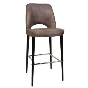 Albury Commercial Grade Fabric Bar Stool, Metal Leg, Donkey / Black