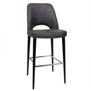Albury Commercial Grade Fabric Bar Stool, Metal Leg, Slate / Black