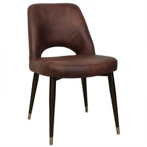 Albury Commercial Grade Fabric Dining Chair, Slim Metal Leg, Bison / Black Brass