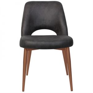 Albury Commercial Grade Fabric Dining Chair, Slim Metal Leg, Slate / Copper