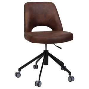 Albury Commercial Grade Gas Lift Fabric Office Chair, Bison / Black