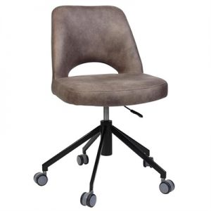 Albury Commercial Grade Gas Lift Fabric Office Chair, Donkey / Black
