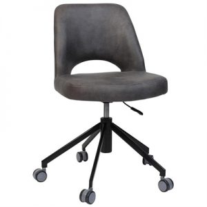 Albury Commercial Grade Gas Lift Fabric Office Chair, Slate / Black
