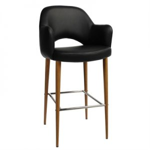 Albury Commercial Grade Vinyl Bar Stool with Arm, Metal Leg, Black / Light Oak