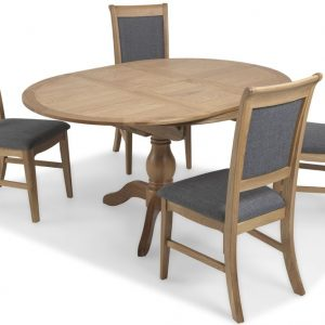 Georgina Natural Oak Round Extending Dining Set with 4 Upholstered Chairs