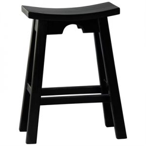 Hantang Mahogany Timber Counter Stool, Black