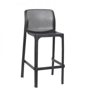 Net Italian Made Commercial Grade Indoor / Outdoor Counter Stool, Anthracite
