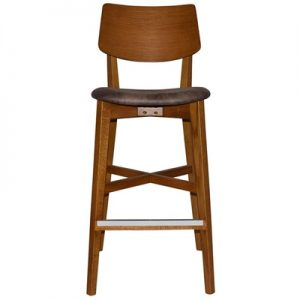 Phoenix Commercial Grade Oak Timber Bar Stool, Fabric Seat, Donkey / Light Oak