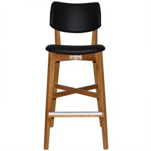 Phoenix Commercial Grade Oak Timber Bar Stool, Vinyl Seat & Back, Black / Light Oak