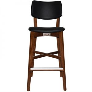 Phoenix Commercial Grade Oak Timber Bar Stool, Vinyl Seat & Back, Black / Light Walnut