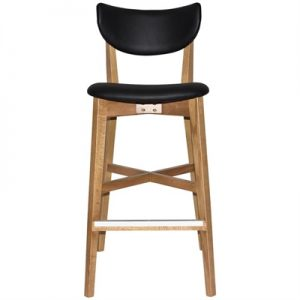 Rialto Commercial Grade Oak Timber Bar Stool, Vinyl Seat & Back, Black / Light Oak