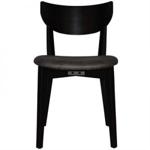 Rialto Commercial Grade Oak Timber Dining Chair, Fabric Seat, Slate / Black
