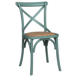 Sherwood Oak Timber Cross Back Dining Chair with Rattan Seat, Arctic Blue