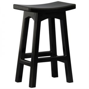 Showa Mahogany Timber Counter Stool, Black