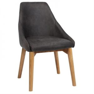 Stockholm Commercial Grade Fabric Dining Chair, Timber Leg, Slate / Light Oak