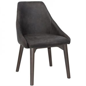 Stockholm Commercial Grade Fabric Dining Chair, Timber Leg, Slate / Olive Grey