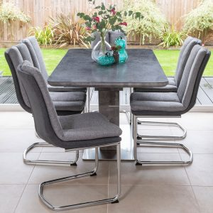 Urban Deco Rimini Ceramic Effect Taupe Glass Extending Dining Set with Tucson Grey Fabric Chairs