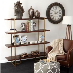 Whalley Bookcase In Rustic Wood And Antique Brass Finish