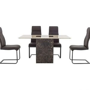 Albarino Dining Table and 4 Dining Chairs Set - Black - By Furniture Village