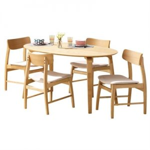 Betty 5 Piece Timber Oval Dining Table Set, 150cm