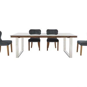 Chennai Dining Table with U-Shaped Legs and 4 Upholstered Chairs - 220-cm - Grey - By Furniture Village