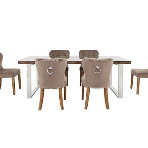 Chennai Dining Table with U-Shaped Legs and 6 Upholstered Chairs - 180-cm - Brown - By Furniture Village