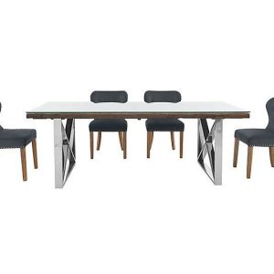 Chennai Dining Table with X-Shaped Legs and 4 Upholstered Dining Chairs - 180-cm - Grey - By Furniture Village